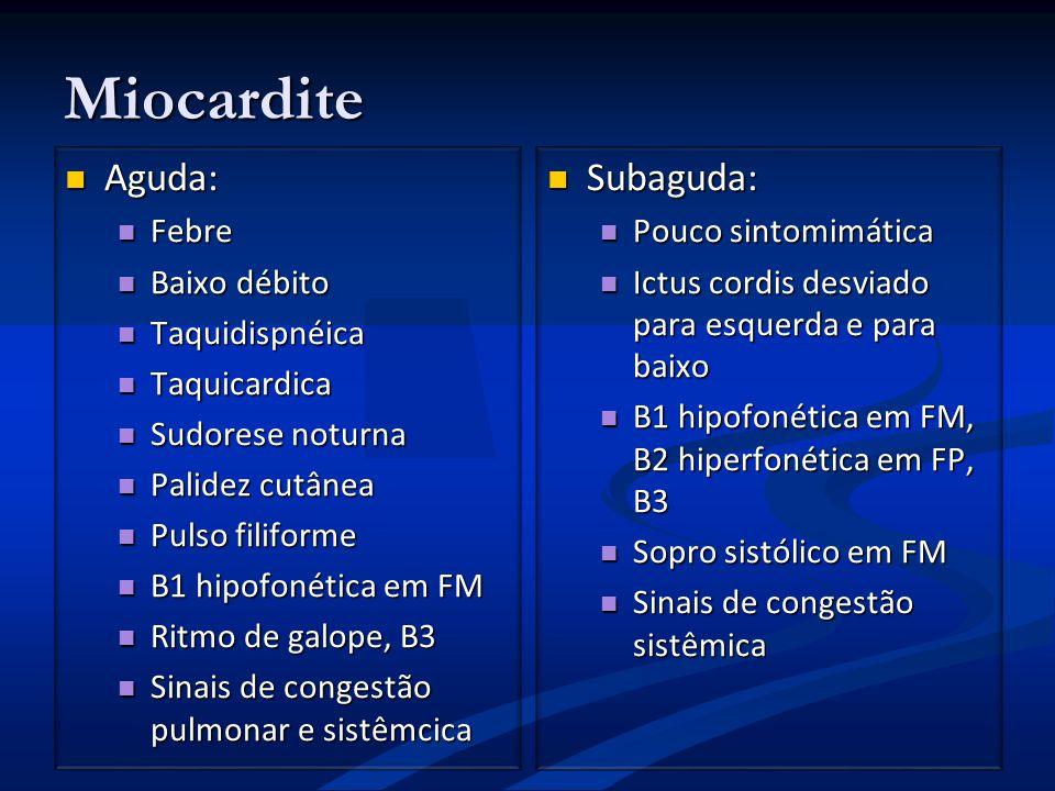 Miocardite Aguda: Subaguda: Febre Baixo débito Taquidispnéica