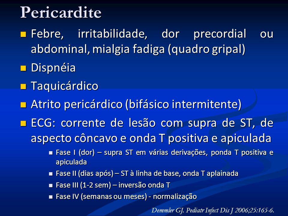 Pericardite Febre, irritabilidade, dor precordial ou abdominal, mialgia fadiga (quadro gripal) Dispnéia.
