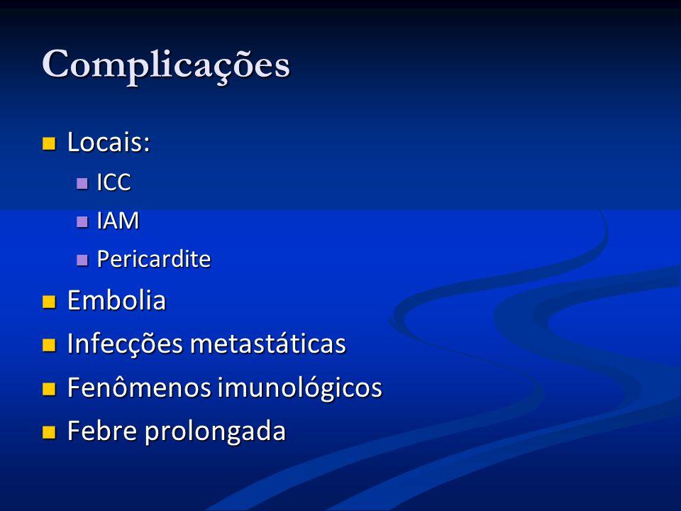 Complicações Locais: Embolia Infecções metastáticas