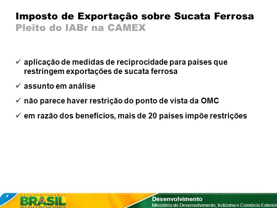 Imposto de Exportação sobre Sucata Ferrosa Pleito do IABr na CAMEX