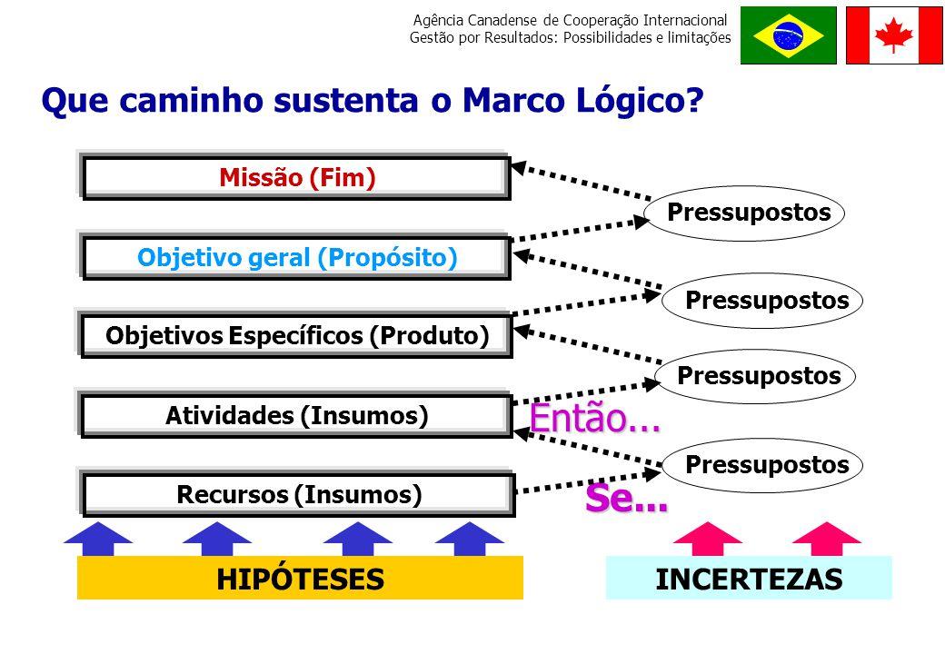 Objetivo geral (Propósito) Objetivos Específicos (Produto)