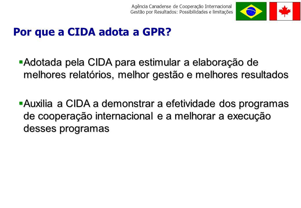 Por que a CIDA adota a GPR