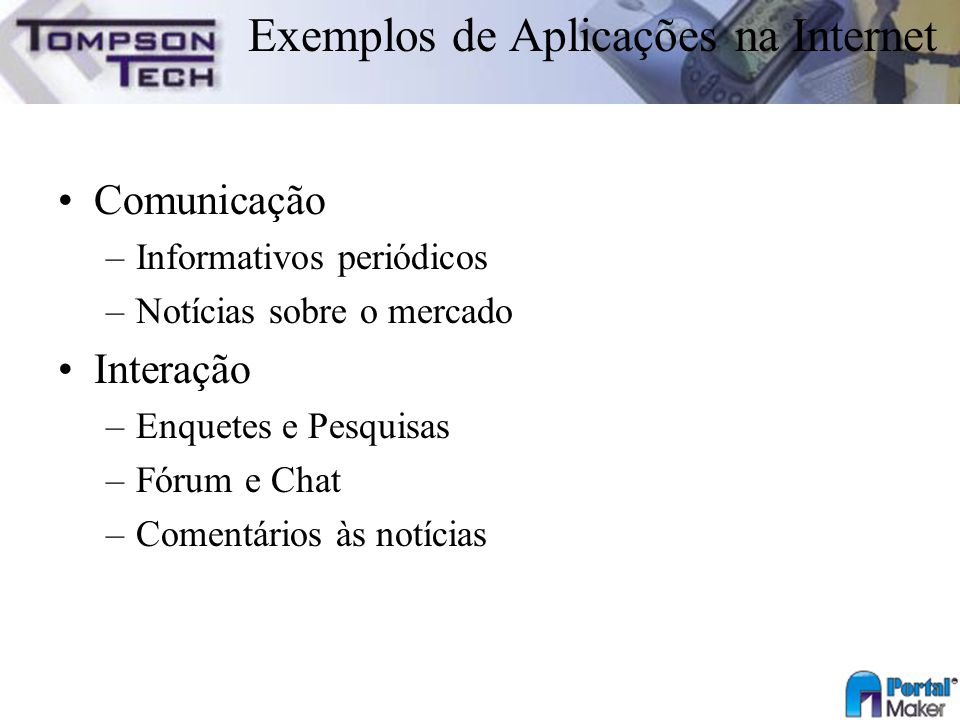 Exemplos de Aplicações na Internet