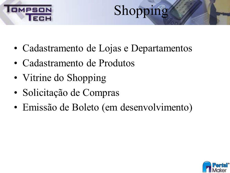 Shopping Cadastramento de Lojas e Departamentos
