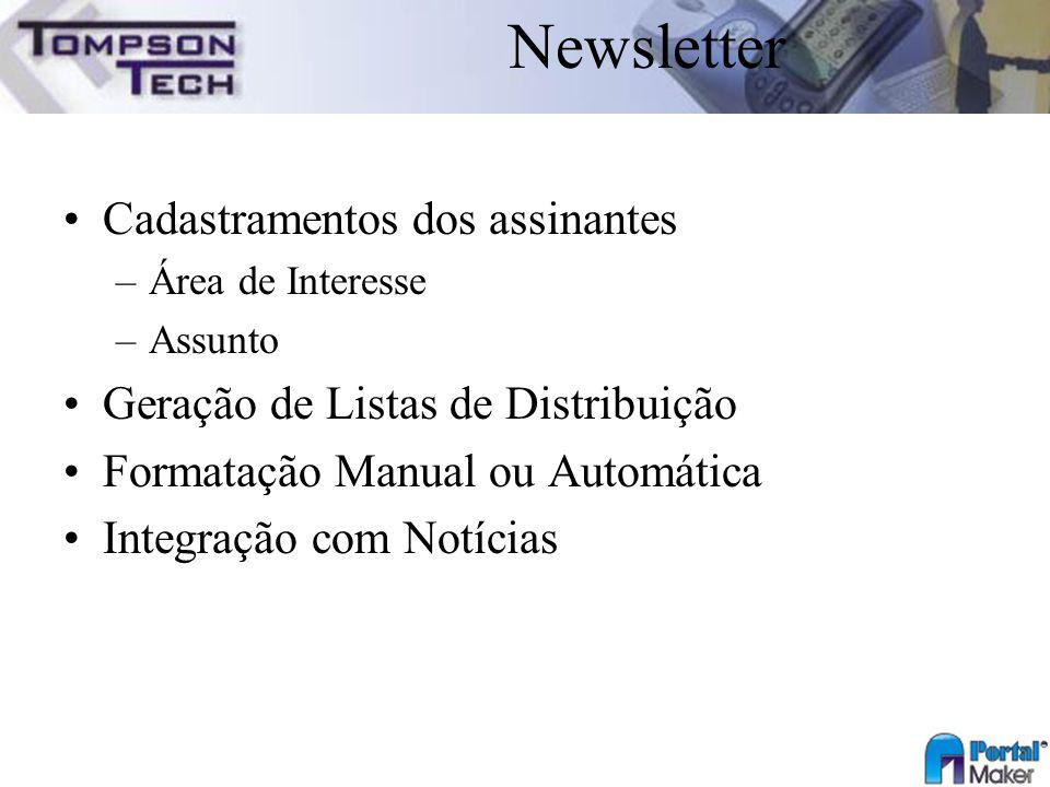 Newsletter Cadastramentos dos assinantes