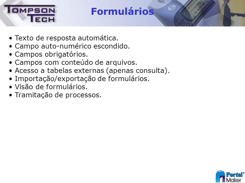 Formulários Texto de resposta automática.