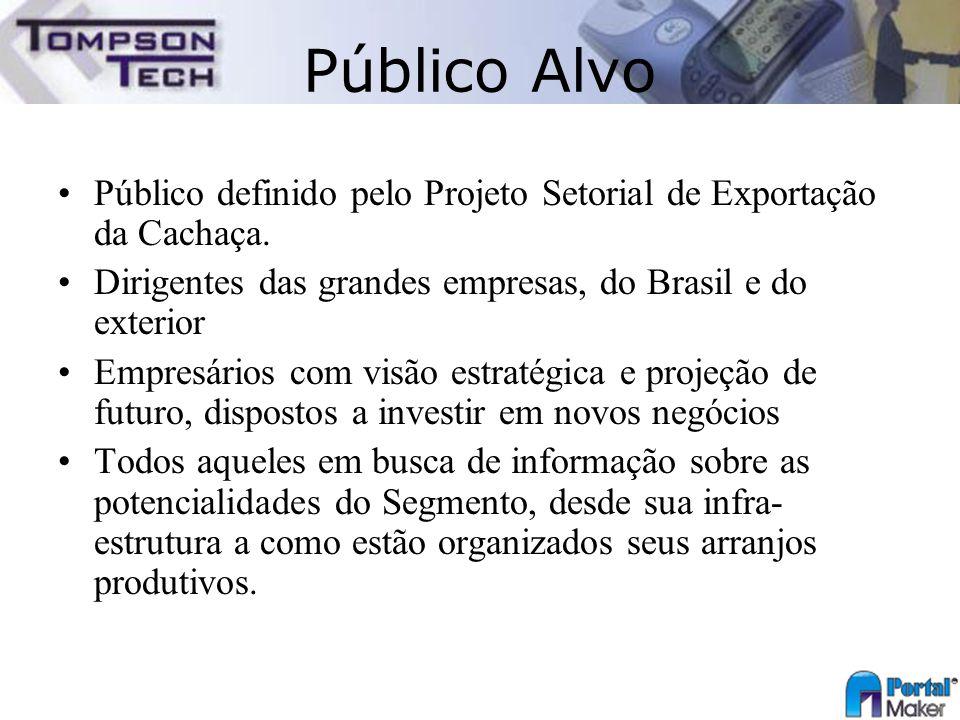 Público Alvo Público definido pelo Projeto Setorial de Exportação da Cachaça. Dirigentes das grandes empresas, do Brasil e do exterior.