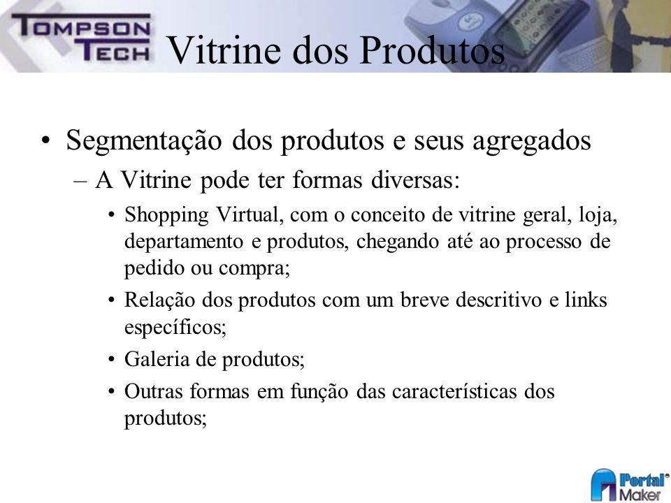 Vitrine dos Produtos Segmentação dos produtos e seus agregados