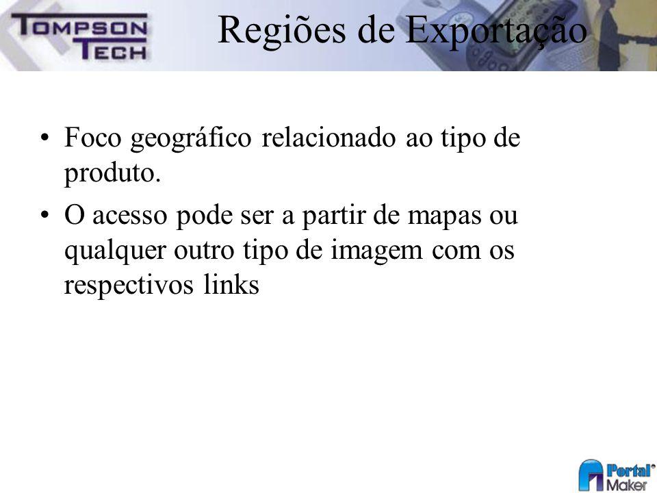 Regiões de Exportação Foco geográfico relacionado ao tipo de produto.