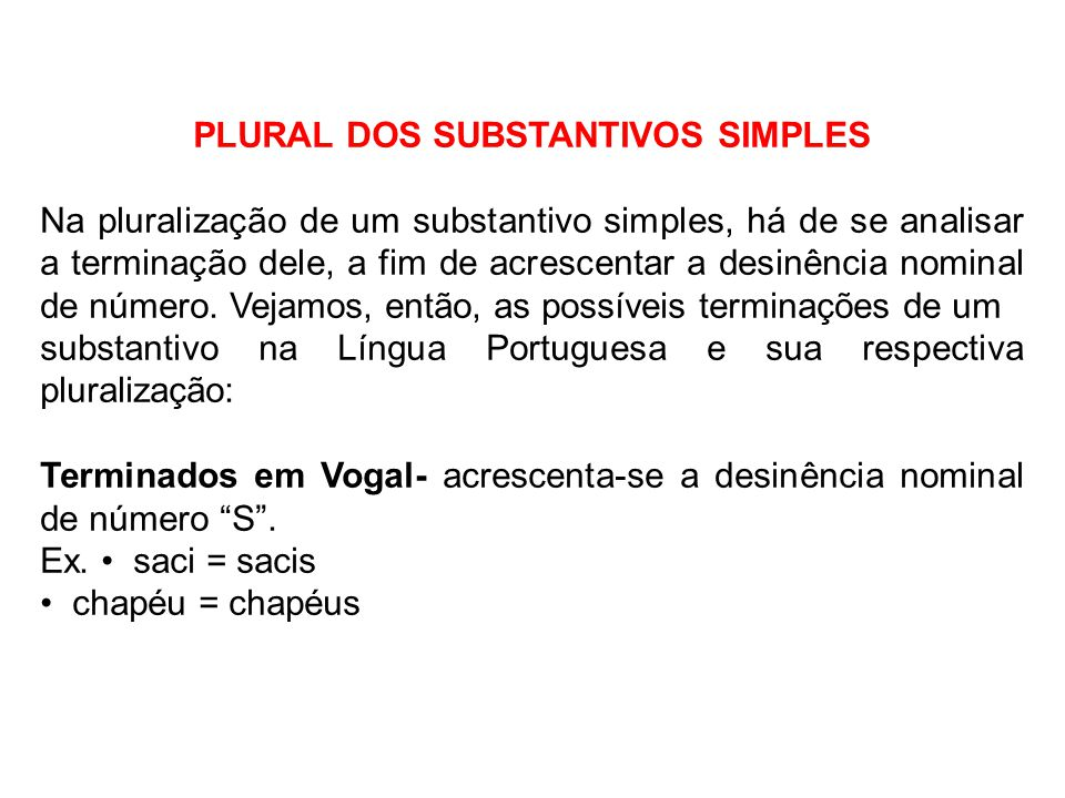 PLURAL DOS SUBSTANTIVOS SIMPLES