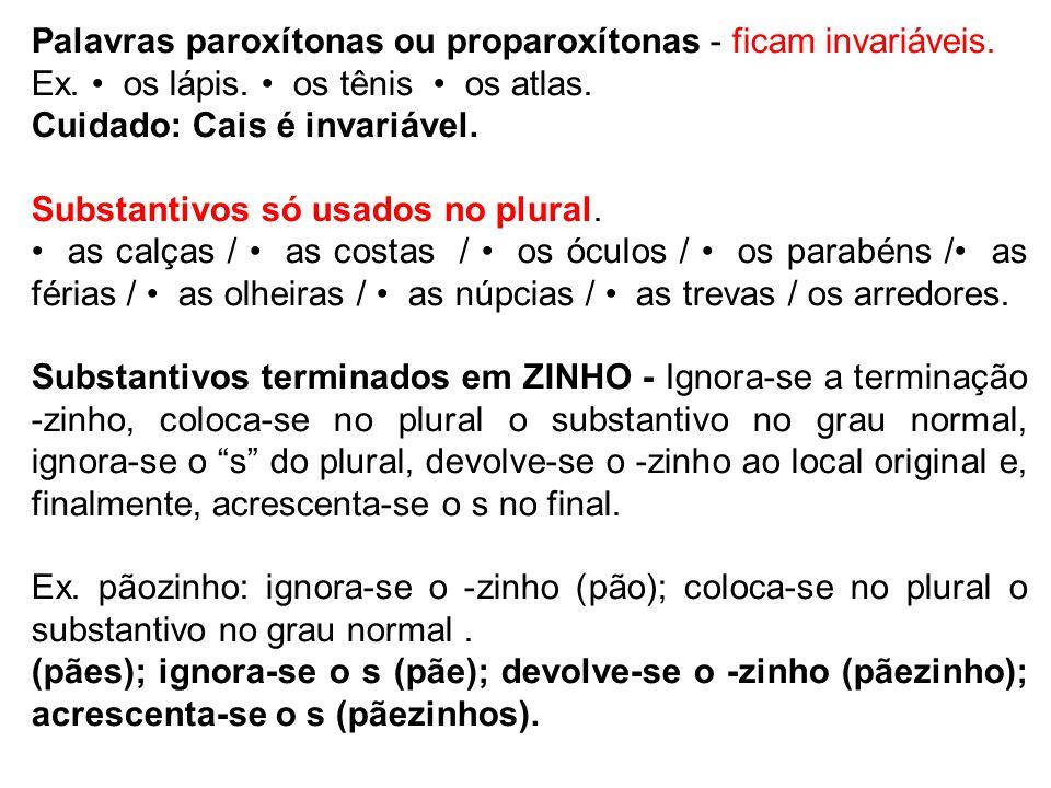 Palavras paroxítonas ou proparoxítonas - ficam invariáveis.