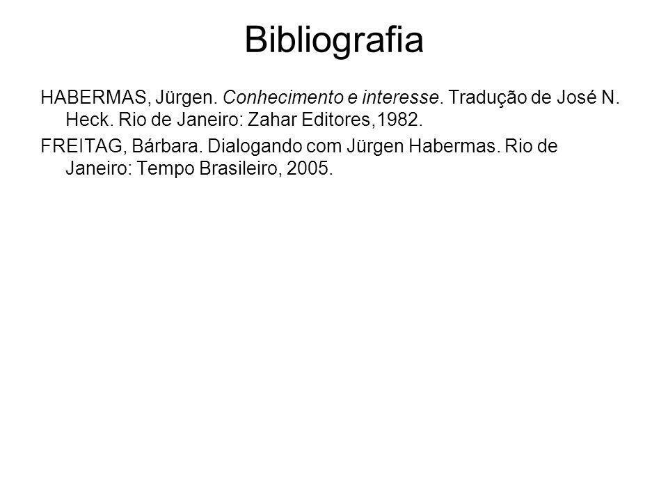 Bibliografia HABERMAS, Jürgen. Conhecimento e interesse. Tradução de José N. Heck. Rio de Janeiro: Zahar Editores,1982.