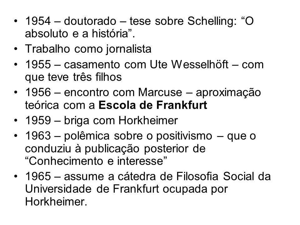 1954 – doutorado – tese sobre Schelling: O absoluto e a história .