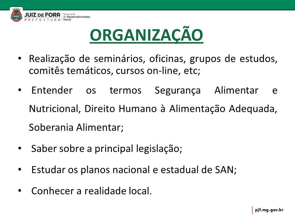ORGANIZAÇÃO Realização de seminários, oficinas, grupos de estudos, comitês temáticos, cursos on-line, etc;