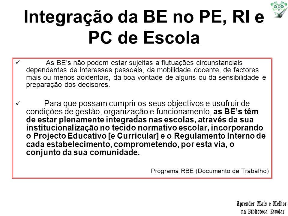 Integração da BE no PE, RI e PC de Escola