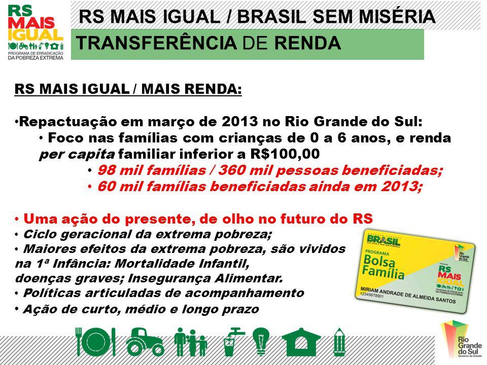RS MAIS IGUAL / BRASIL SEM MISÉRIA TRANSFERÊNCIA DE RENDA