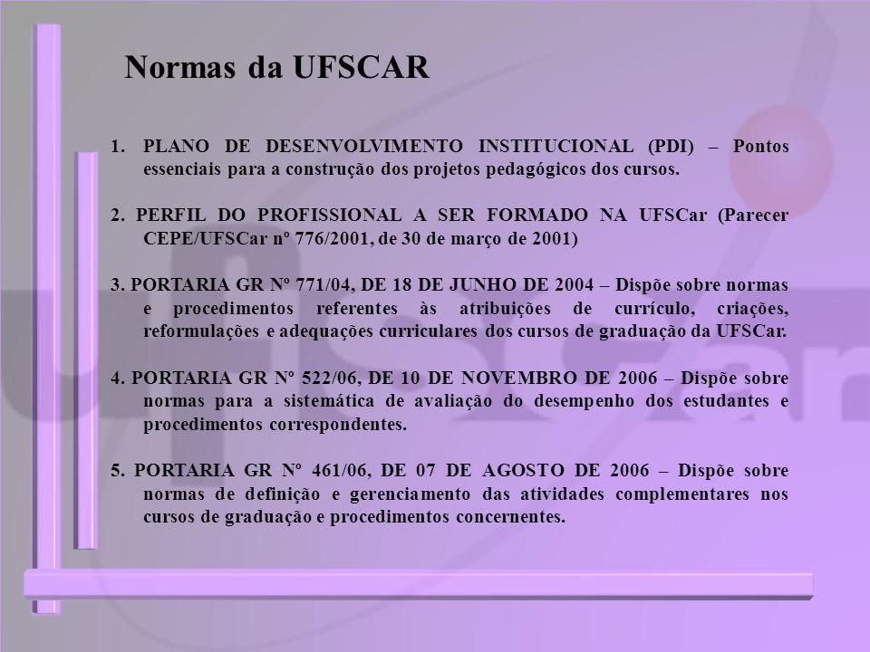 Normas da UFSCAR PLANO DE DESENVOLVIMENTO INSTITUCIONAL (PDI) – Pontos essenciais para a construção dos projetos pedagógicos dos cursos.