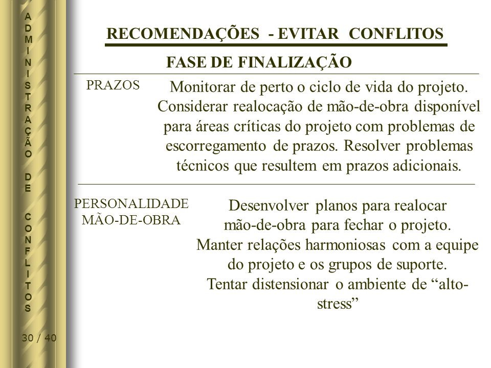 RECOMENDAÇÕES - EVITAR CONFLITOS