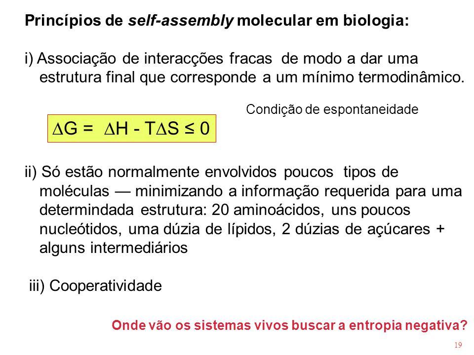 DG = DH - TDS ≤ 0 Princípios de self-assembly molecular em biologia: