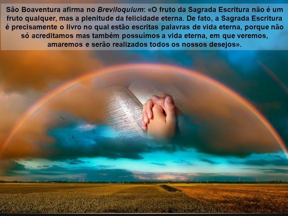 São Boaventura afirma no Breviloquium: «O fruto da Sagrada Escritura não é um fruto qualquer, mas a plenitude da felicidade eterna.