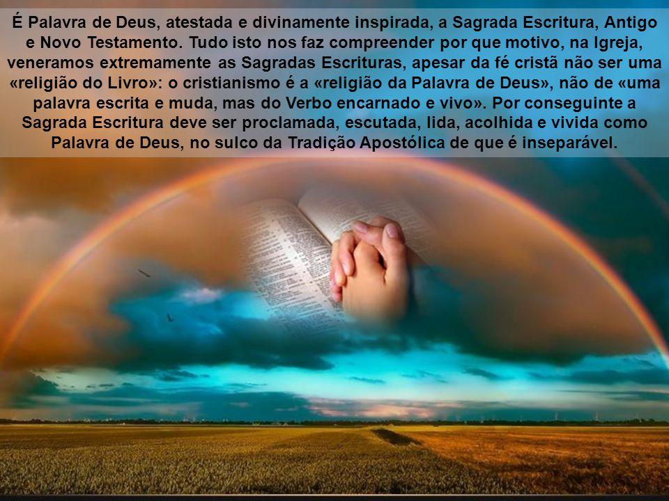 É Palavra de Deus, atestada e divinamente inspirada, a Sagrada Escritura, Antigo e Novo Testamento.