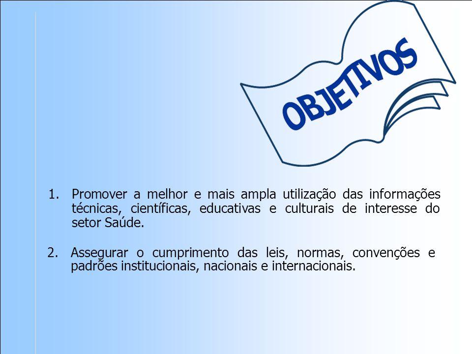OBJETIVOS Promover a melhor e mais ampla utilização das informações técnicas, científicas, educativas e culturais de interesse do setor Saúde.