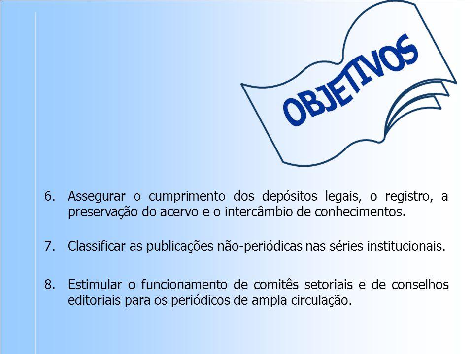 Classificar as publicações não-periódicas nas séries institucionais.