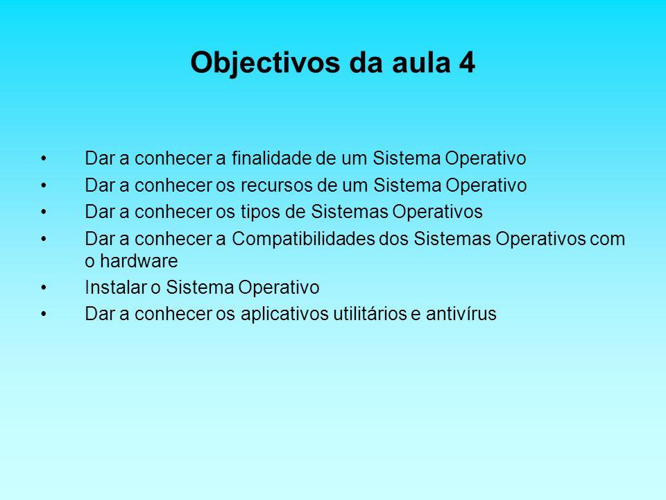 Objectivos da aula 4 Dar a conhecer a finalidade de um Sistema Operativo. Dar a conhecer os recursos de um Sistema Operativo.