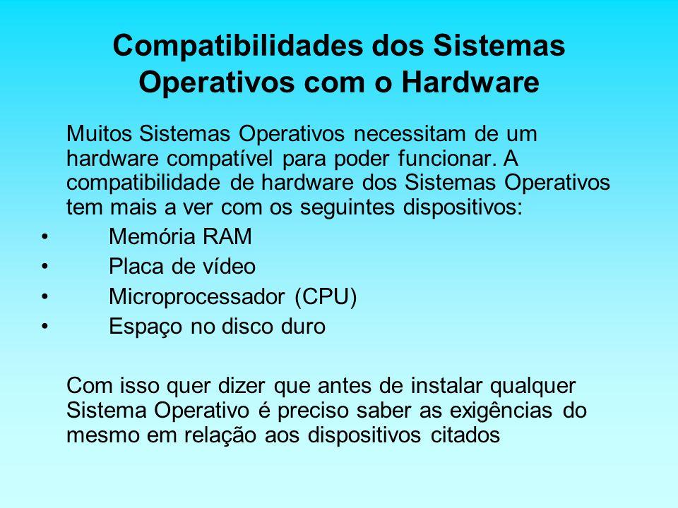 Compatibilidades dos Sistemas Operativos com o Hardware