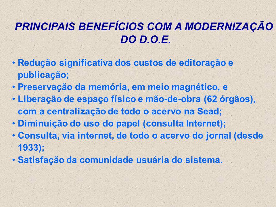 PRINCIPAIS BENEFÍCIOS COM A MODERNIZAÇÃO DO D.O.E.