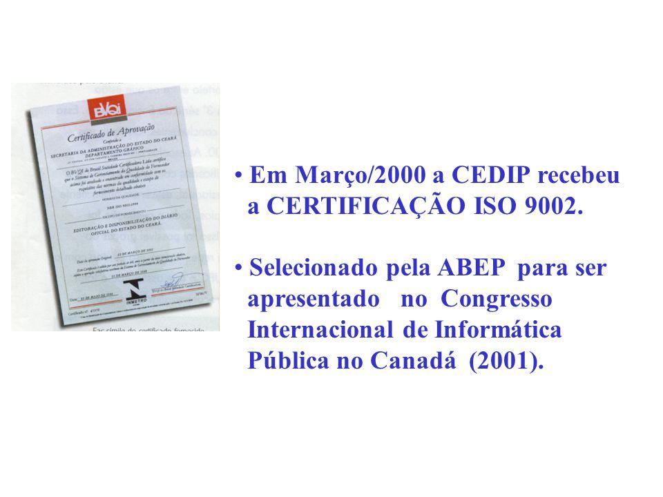 Em Março/2000 a CEDIP recebeu