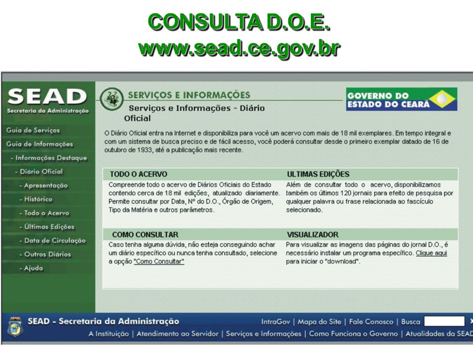CONSULTA D.O.E. www.sead.ce.gov.br