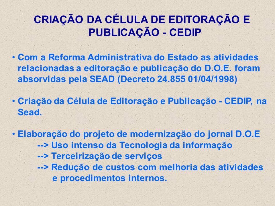 CRIAÇÃO DA CÉLULA DE EDITORAÇÃO E PUBLICAÇÃO - CEDIP
