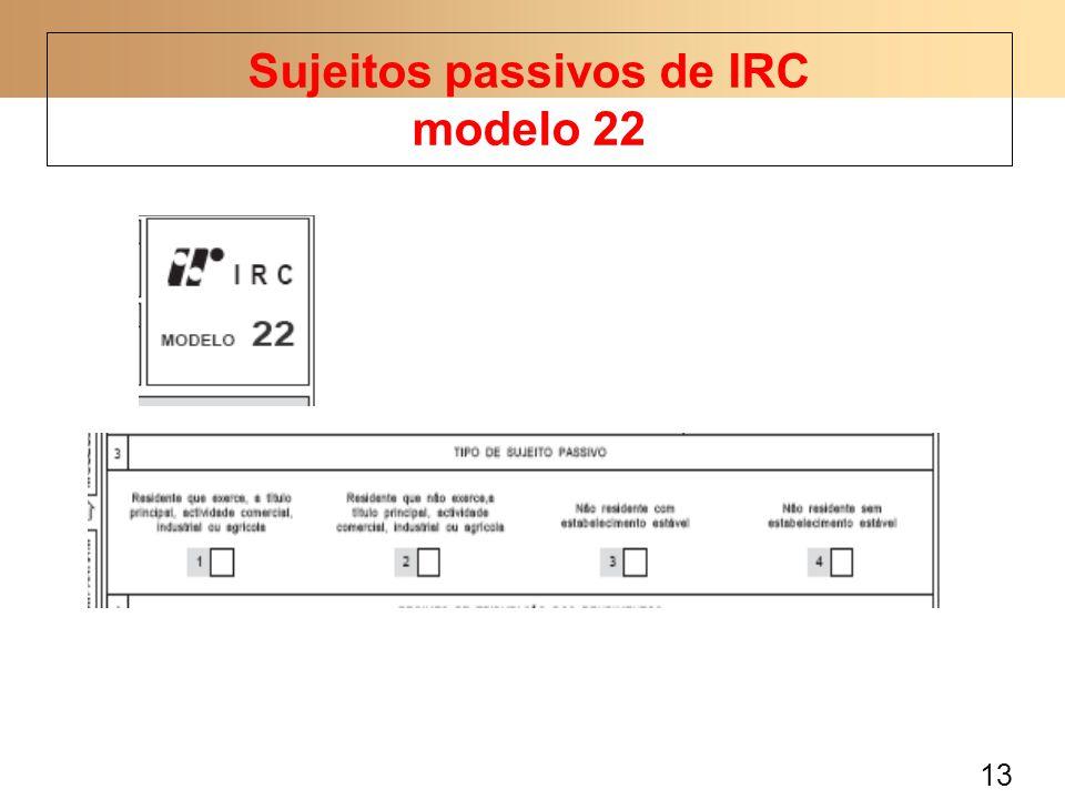 Sujeitos passivos de IRC modelo 22