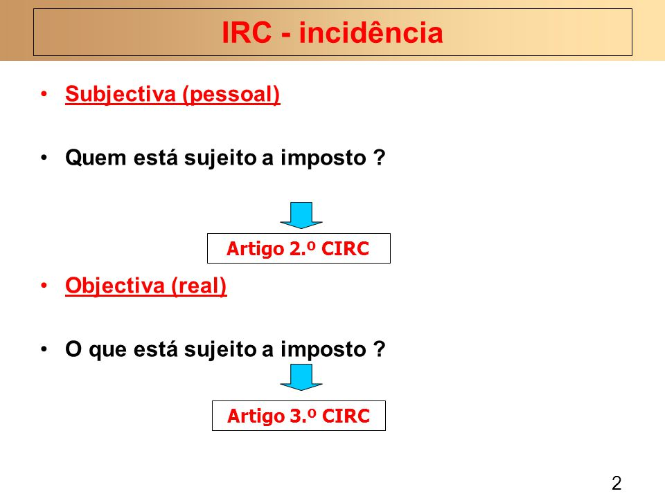 IRC - incidência Subjectiva (pessoal) Quem está sujeito a imposto