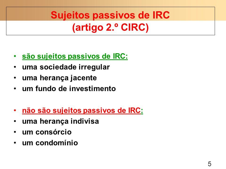 Sujeitos passivos de IRC (artigo 2.º CIRC)