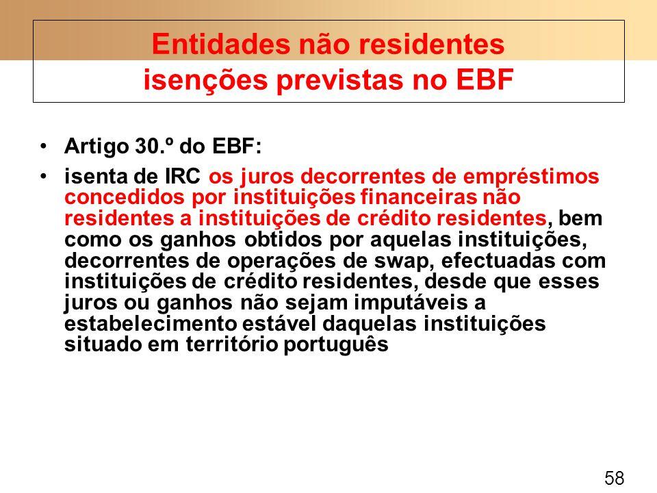 Entidades não residentes isenções previstas no EBF