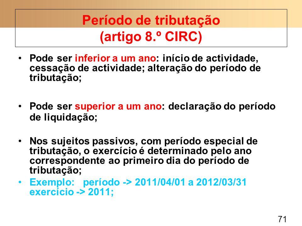 Período de tributação (artigo 8.º CIRC)