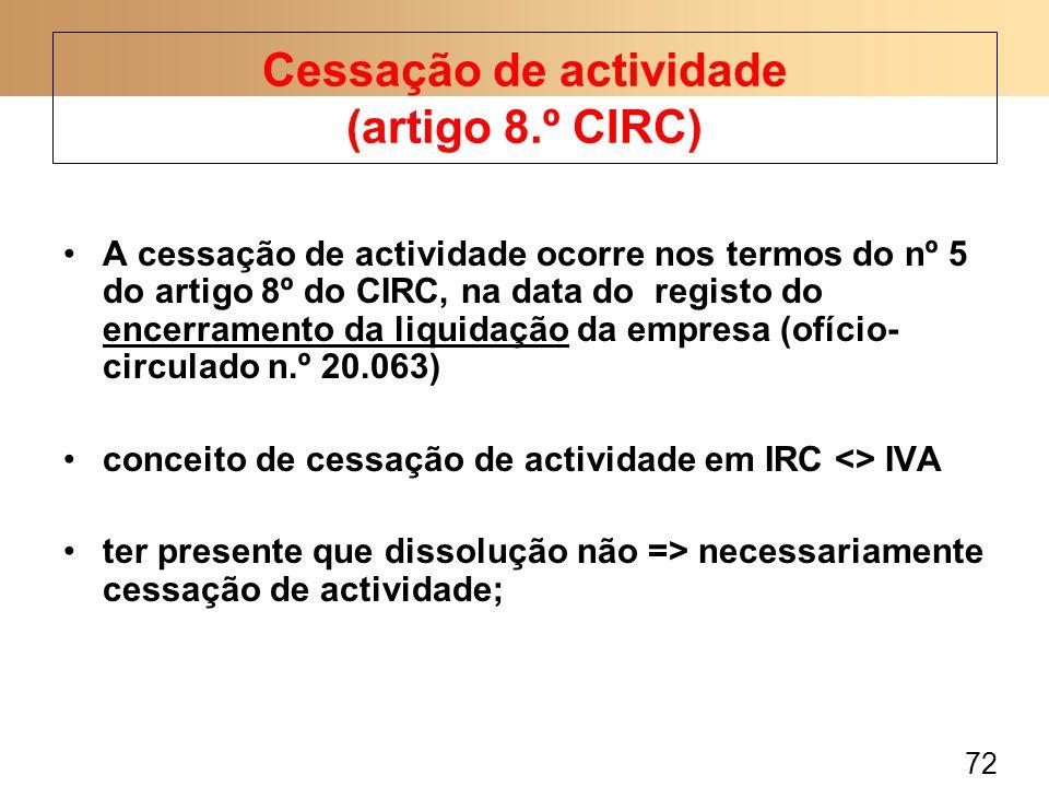 Cessação de actividade (artigo 8.º CIRC)