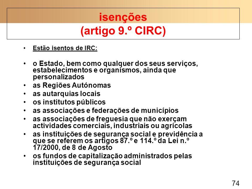 isenções (artigo 9.º CIRC)