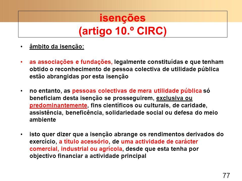 isenções (artigo 10.º CIRC)