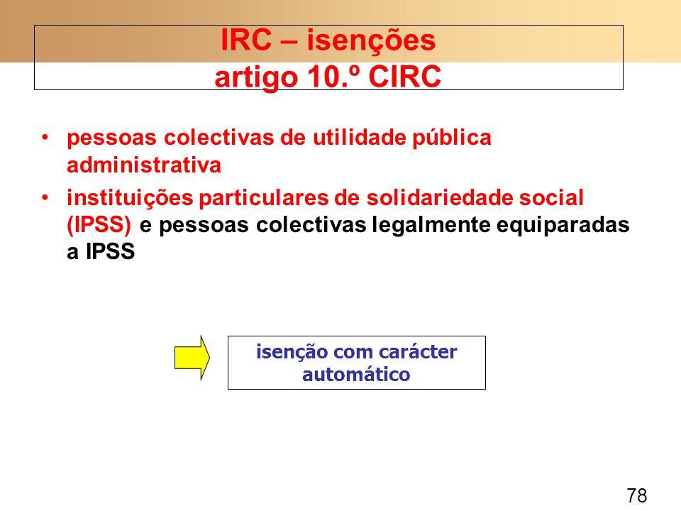IRC – isenções artigo 10.º CIRC