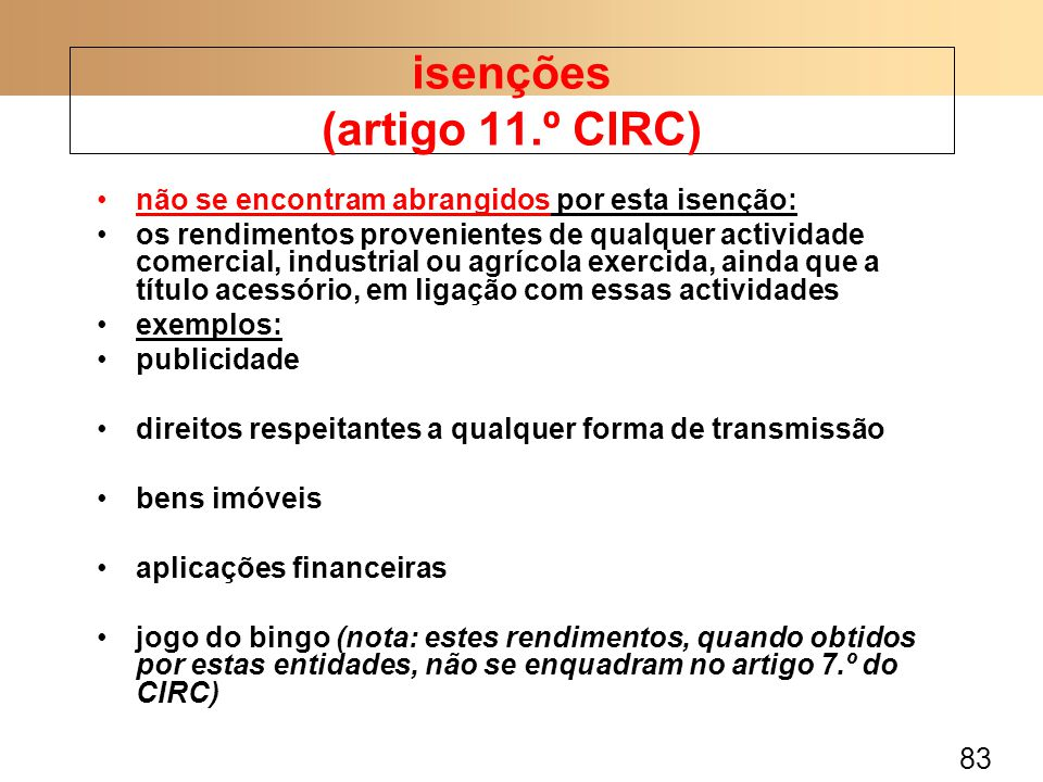 isenções (artigo 11.º CIRC)