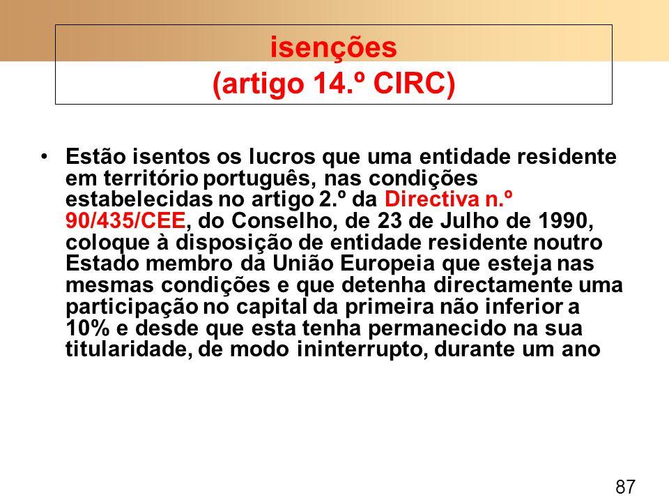 isenções (artigo 14.º CIRC)