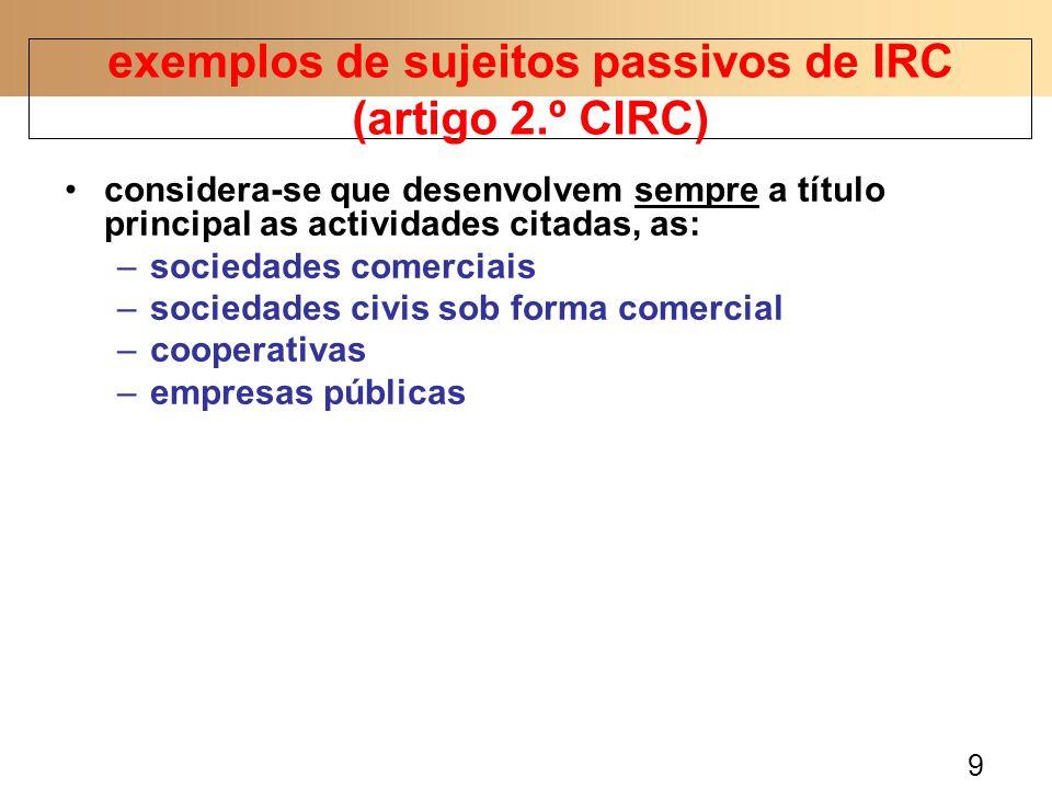 exemplos de sujeitos passivos de IRC (artigo 2.º CIRC)