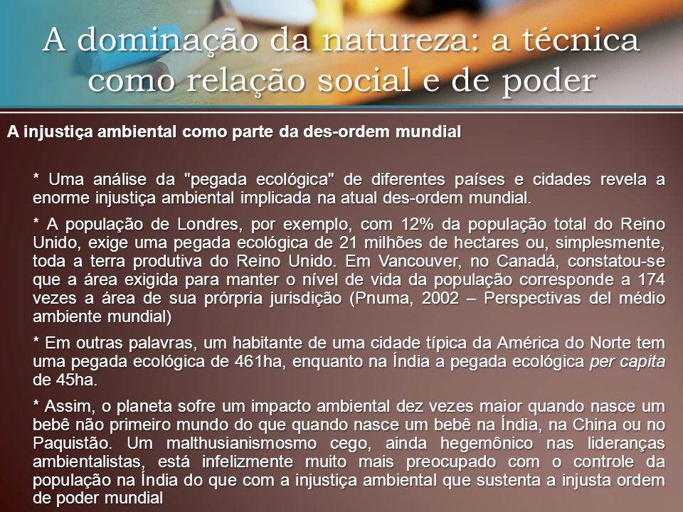 A dominação da natureza: a técnica como relação social e de poder