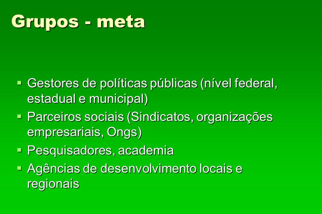 Grupos - meta Gestores de políticas públicas (nível federal, estadual e municipal) Parceiros sociais (Sindicatos, organizações empresariais, Ongs)