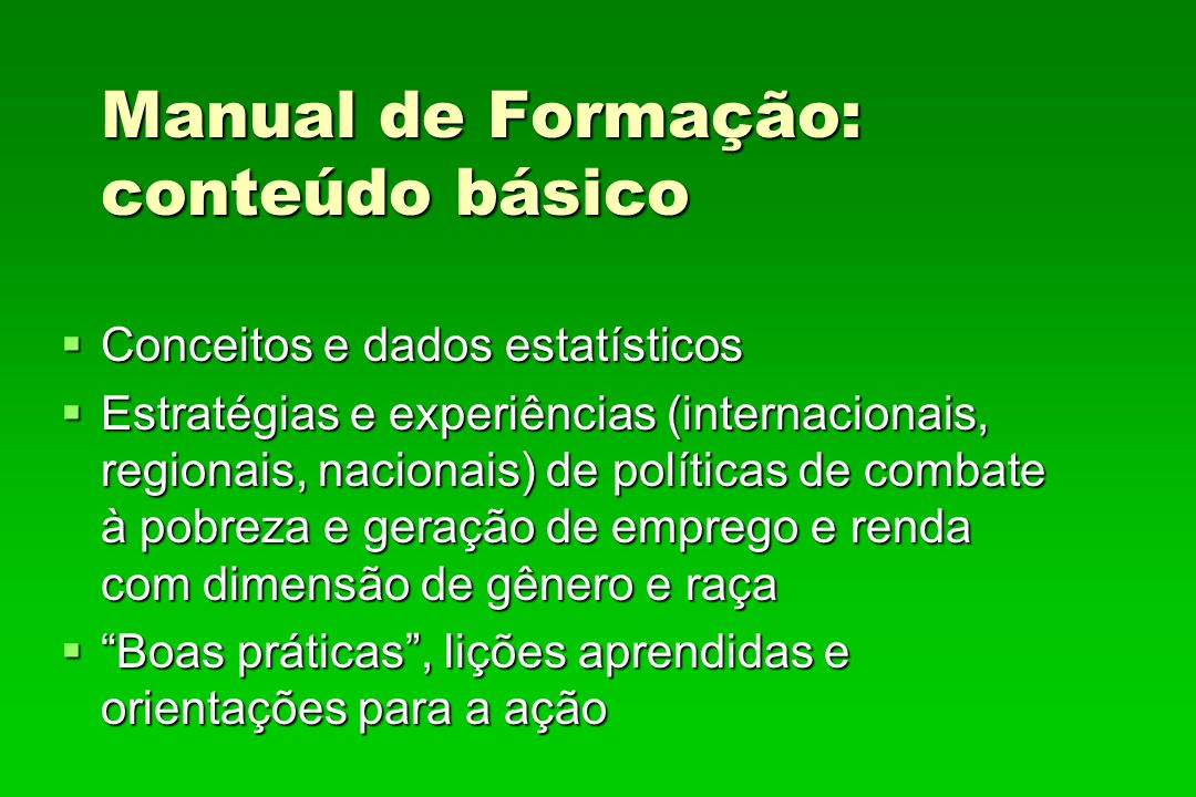 Manual de Formação: conteúdo básico