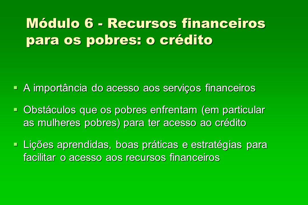 Módulo 6 - Recursos financeiros para os pobres: o crédito
