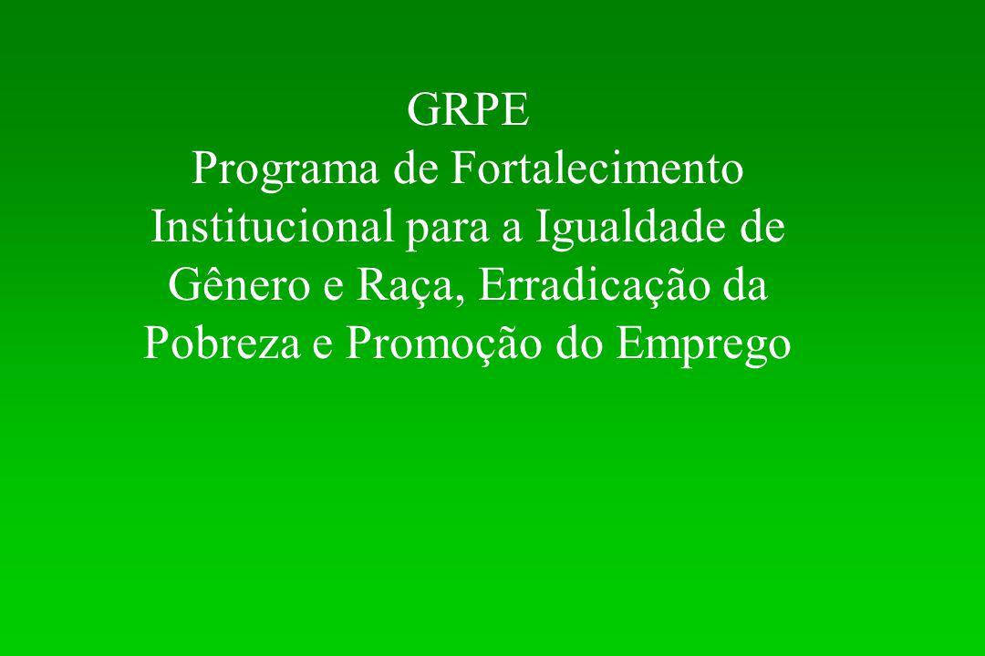 GRPE Programa de Fortalecimento Institucional para a Igualdade de Gênero e Raça, Erradicação da Pobreza e Promoção do Emprego.
